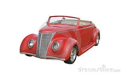 Retro red ragtop coupe