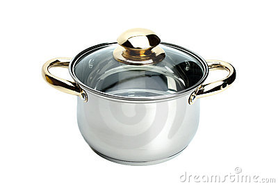 Stainless steel pot with glass cover