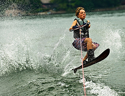 Boy Slalom Skier Jumping Wake