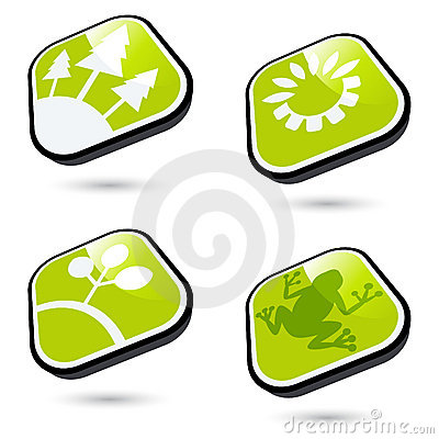 Green ecological buttons