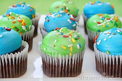 Chocolate Cupcakes and Colorful Frosting