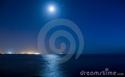 Full moon over ocean