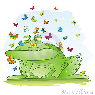 Ugly Big Frog with Beautiful Butterflies