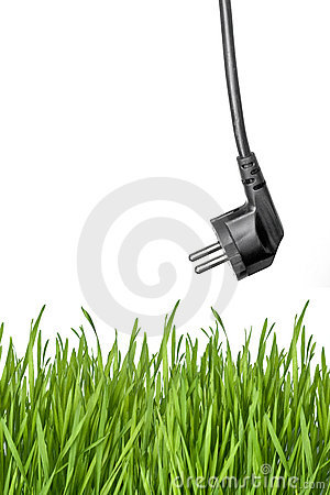Black power plug and green grass