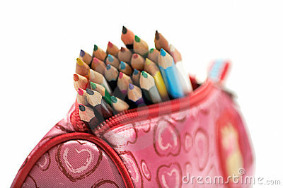 Color pencils in the case