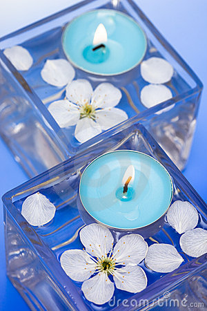 Candle with spring flowers