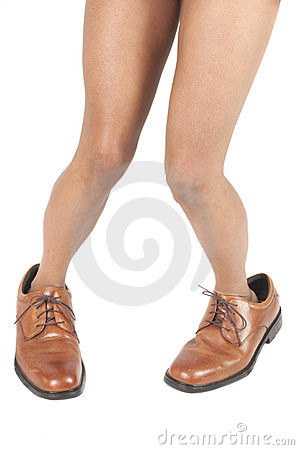African american woman in mans shoes