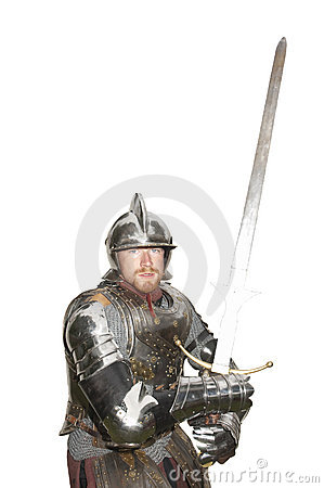 Man in armor with sword drawn