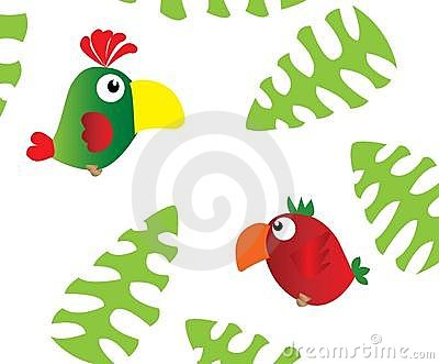 Two parrots and palm leaves