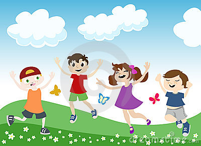 Jumping children illustration