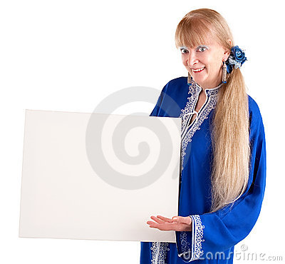 Beautiful Senior Woman Holding a Blank White Sign