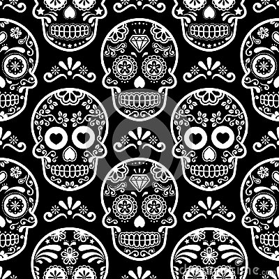 Mexican Sugar Skull Seamless Pattern On Black Halloween White Candy