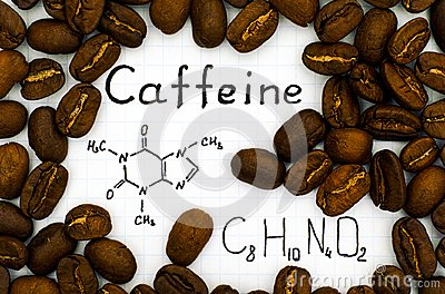 Chemical formula of Caffeine with coffee beans