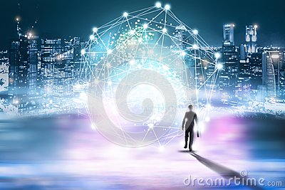 Creative abstract technology background, Innovative, Idea and futuristic thinking concept.