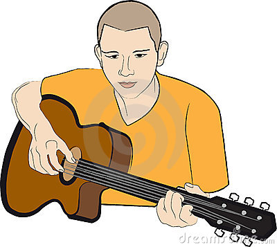 Player on guitar