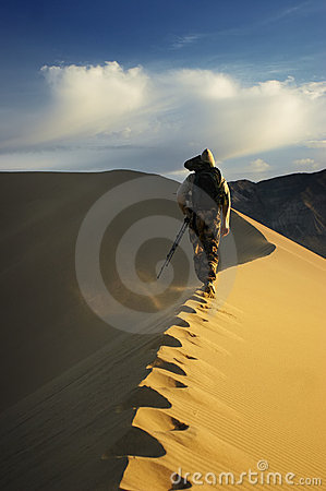 To the top of sand dune