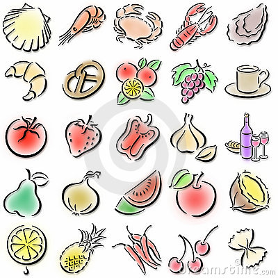 Colorful food symbols
