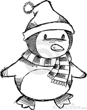 Sketchy Christmas Penguin Vector