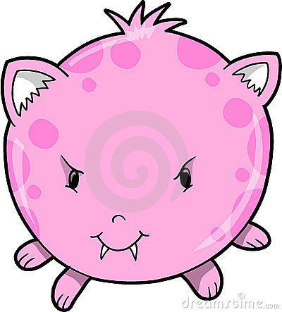 Cute Pink Monster Vector