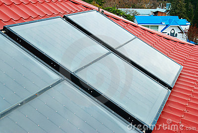 Solar water heating system.