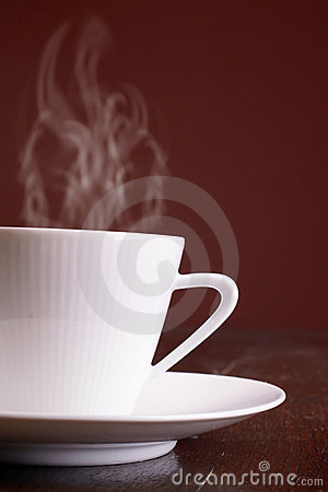Cup of steaming hot coffee