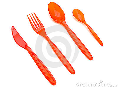 Plastic fork knife and spoons