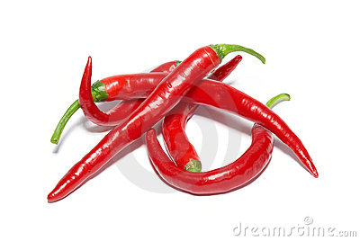 Stack of red hot chili peppers