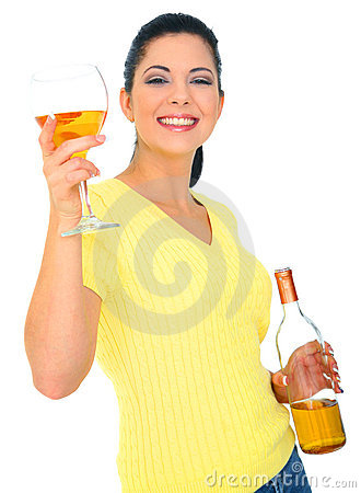Beautiful Young Woman Toasting