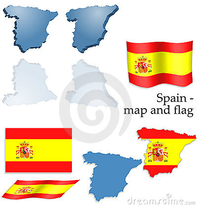 Spain - map and flag set