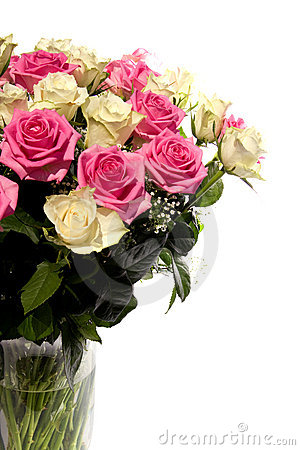 Beautiful bouquet of roses in vase
