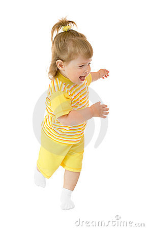 Running girl in yellow shirt and pants