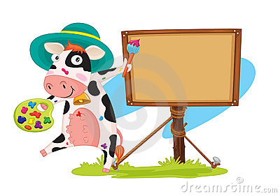 Cow and board