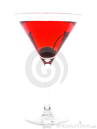 Red wine on glass/ isolated
