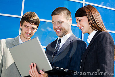 Working business team near office centre