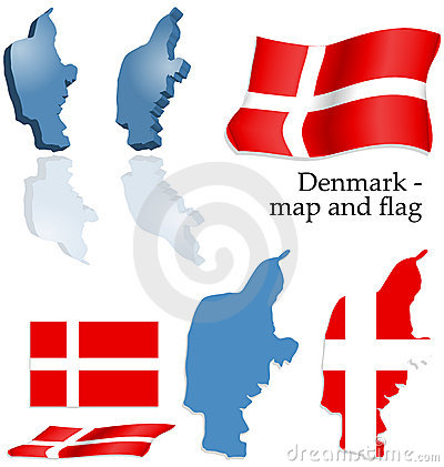Denmark - map and flag set