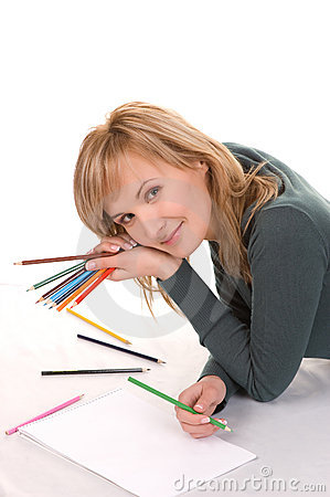 Beautiful young woman is going to draw.