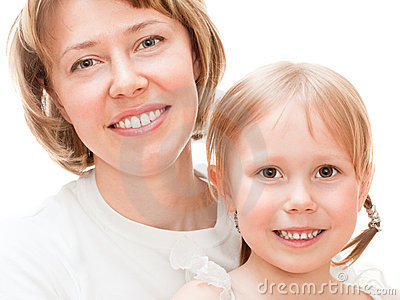 Girl with mom
