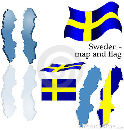 Sweden - map and flag set