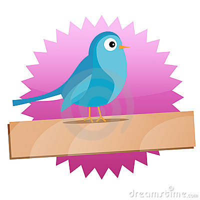 Twitter badge with Blue bird and sign
