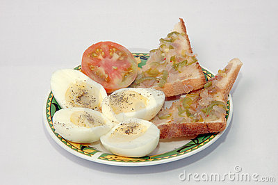 Boiled egg with sandwich