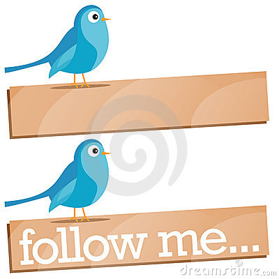 Twitter Bird with Follow Me sign