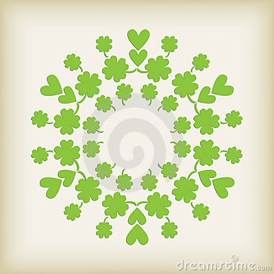 Green Heart and Clover Background