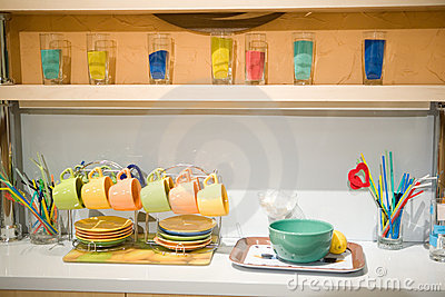 Clored glassware in cafe