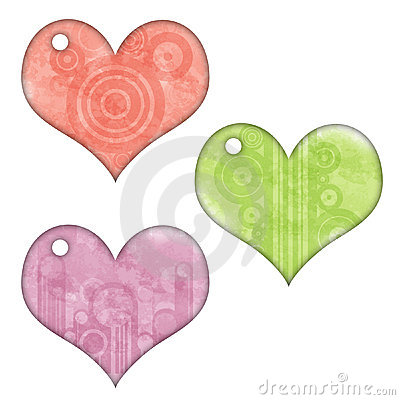 Retro Heart Tags