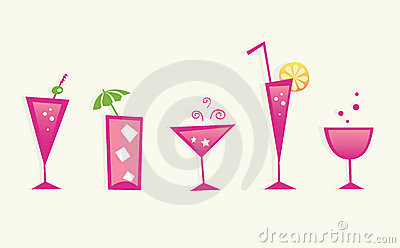 Hot summer drinks and cocktail glasses - VECTOR