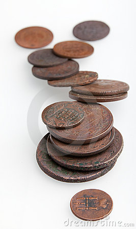 Heap of very old copper coins
