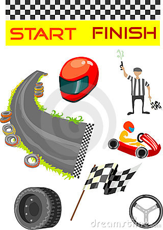 Go karting sport and equipment vector illustration