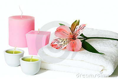 Aromatherapy with candles and orchids