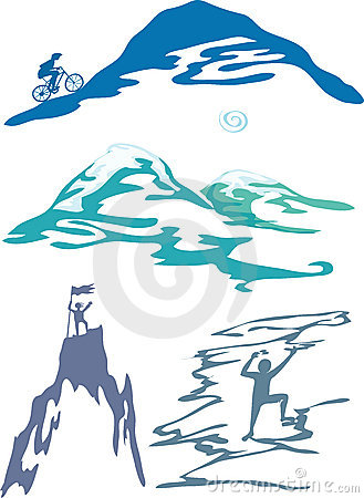 Mountain sports and activity vector illustration