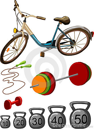 Sport gym equipment vector colorful illustration